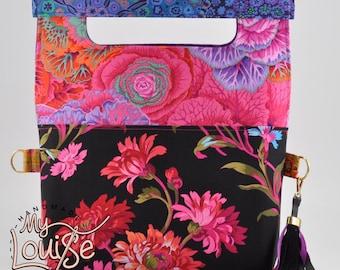 Colorful handbag with strap