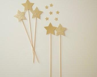 10 Gold&GlitterGold Star Cake Toppers