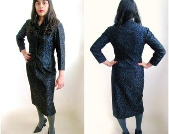 XS 1950s Navy and Black Brocade Dress Suit