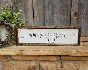 "Framed ""amazing grace"" Sign/Wooden ""amazing grace"" sign/Farmhouse Sign/Farmhouse Style/Scripture Sign/Ivory and Black"