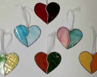 Stained Glass Sun Catcher.Funky heart.Window hanging.Be mine heart.Romantic glass heart.Glass ornament.Be my valentine.Broken heart