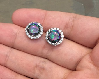Vintage Sterling silver earrings, solid 925 silver with rainbow Swarovski and crystal around details, stamped 925