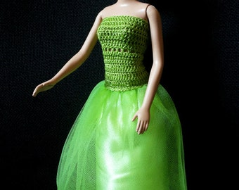 Long evening dress for Barbie, green with cotton crochet bodice, tulle skirt and petticoat with satin bow
