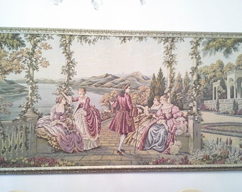Vintage, ANTIQUE, TAPESTRY, GOBELIN, French style,wall hanging,vintage  textile,rustic style, Home decor, romantic