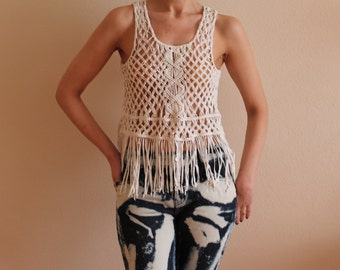 Ivory Braided Top Fringe Top Boho Top Fringe Crop Top Hippie Tank Top Tassel Top Beach Festival Clothing Festival Top XS to Small Size