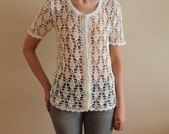 White Crocheted Cardigan  Summer Crochet Jacket Short Sleeve Bohemian Romantic Button up