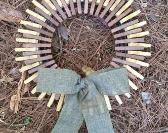 Wooden Clothespin Sunflower Wreath, Sunflower Clothespin Wreath, Sunflower Wreath, Clothespin Wreath, Wreath, Country Wreath