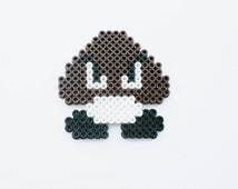 Perler bead goomba guy / nerd accessory / perler bead art / fun nintendo bead art