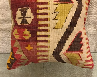Kilim pillow,throw pillow,vintage pillow,bohemian cushion cover,hand made pillow cases,Turkish kilim pillow case