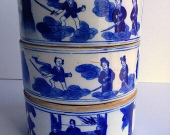 Vintage stacking Chinese bowls x 3