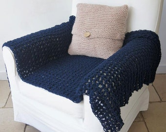 Blue crochet throw