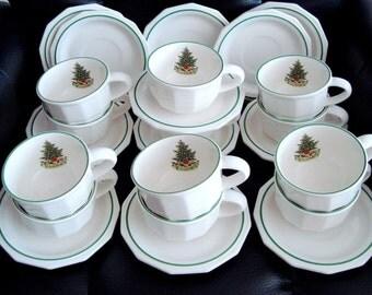 Pfaltzgraff Christmas Heritage Flat Cup & saucer Set Of 12 USA
