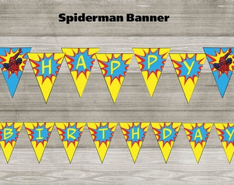 Instand DL - Spiderman Birthday Banner Printable- Printable (NON Personalized)