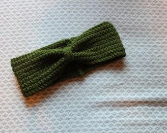 olive green bow headband