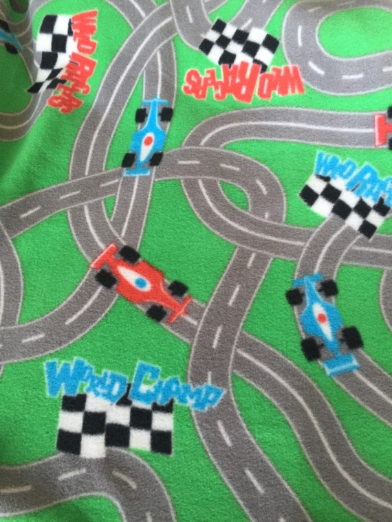 Race Track Fabric : Items similar to quot of race car track fleece fabric