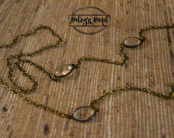 Antique Brass Chain with Vintage Faceted Beads