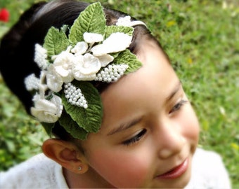 Flower Girl Headband, Pearl Headband, flower Headband, girl Headband, Headband, Wedding Headband, wreaths