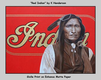 "Art Print, ""Red Indian"" by K Henderson, Southwest Decor, Western Art , Giclee on Matte Paper"