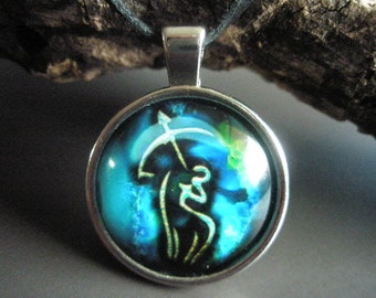Sagittarius zodiac pendant on leather