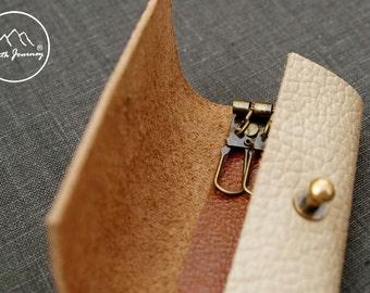Leather key case ,Key Holder ,Leather Key Pouch ,Key Case ,Leather Key Holder ,Grant Beige