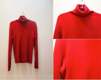 90s red turtleneck ribbed sweater