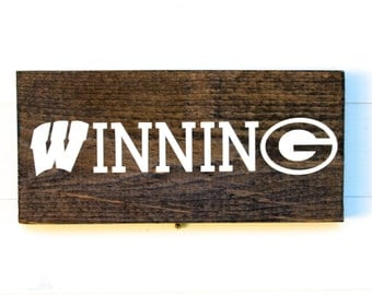University of Wisconsin Rustic Wooden Sign | Packers Sign | Wisconsin Badgers Sign | Badgers | Green Bay Packers | Winning | UW Madison
