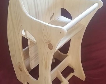 Triple Use Childrens Wooden Rocker, Desk, High-Chair