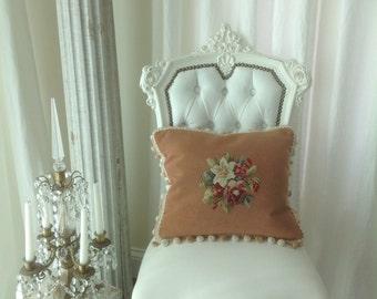 Beautiful Vintage Peach Needlepoint Pillow