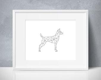 Geometric Dog, Puppy, Geometric Art, Modern, Pet Print, Dog Lover, Animal, Animal Lover, Black and White, Modern, Printable Wall Art, SALE