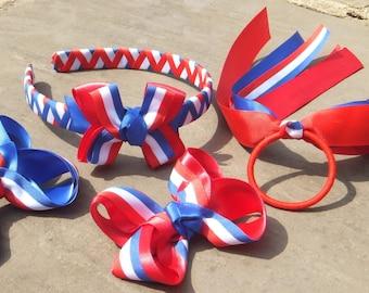 "SALE! Patriotic, 4th of July, Red, White, Blue, Woven Headband, Ponytail Streamer, Celebration, Hair Bows, 3.5"", Girls, UK"