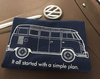 Volkswear Simple Plan Volkswagen Bus T-shirt.  100% Cotton T with screen print front and back. Navy Blue.  S-2XL