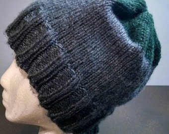 Grey and green beanie