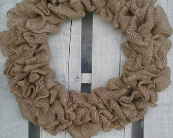Burlap wreath, Plain Burlap Wreath, All Season Door and Mantle Wreath, Ready to decorate, Various Wreath Sizes
