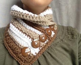 Crochet PATTERN - crochet cowl pattern, easy crochet scarf pattern, buttoned crochet scarf, easy crochet cowl, womens scarf pattern