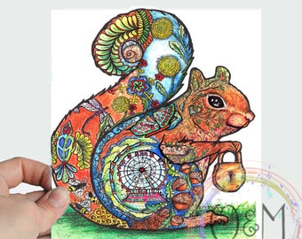 Watercolor Squirrel Painting Squirrel Print, Squirrel Art Print, Squirrel Nursery Wall Art, Squirrel Kids Room Art, Squirrel Gift, Woodland