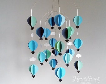 baby mobile -hot air balloon mobile - nautical nursery- blues and minty greens-  travel theme-  baby shower gift- Wave Mobile