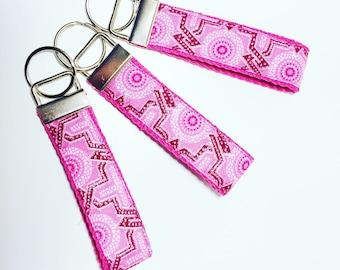 Pink Key Fob // Pretty in Pink Key Chain // Pink Glitter Print Key Fob