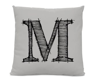 Initial Pillow - Letter Pillow - Pillow with Letter M - Monogrammed Pillow - Custom Throw Pillow