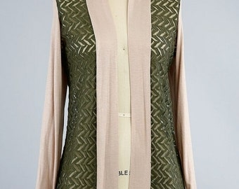 Long Sleeve Olive Laced Cardigan