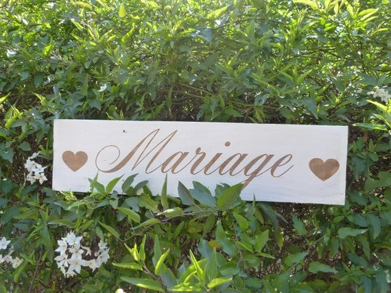 french wedding wood sign panneau en bois pour by patinesetpatata. Black Bedroom Furniture Sets. Home Design Ideas