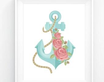 Ship Anchor, Floral Art, Sea Art, Sailor Art, Printable Art, Digital Art, Digital Files, Anchor Digital Print, Anchor Art Print, Anchor