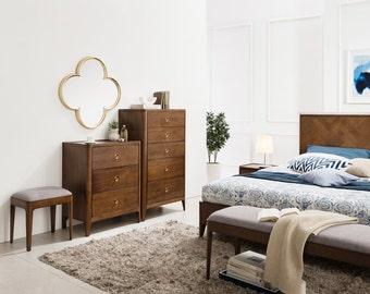 Walnut Mid Century 5 Drawer Dresser, Mid Century Storage Dresser -Ekais BQ Line