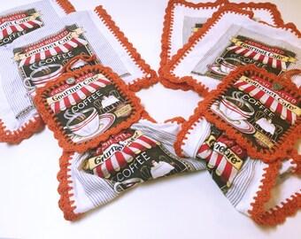 Set of 6 Crochet Gourmet Café Kitchen Towels