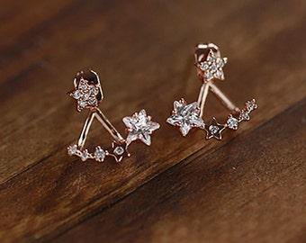 Ear Cuff Crystal Earrings Crystal Star Earrings  Silver Earrings Stud Crystal  CZ Earrings  Ear Jacket  Earrings Pierced Earrings