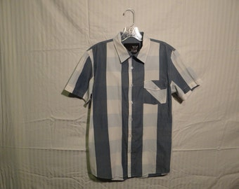 Striped Blue & White Short Sleeved Button Up
