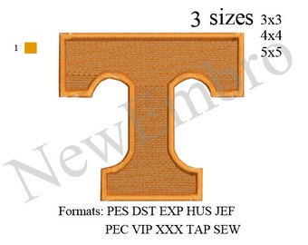 University of Tennessee T logo embroidery design embroidery pattern
