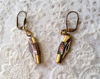 Unique Miniature Tiny Pocket Knife Earrings, Abalone with Solid Brass Wires,  1 Inch Working Knife Charm Earrings, Knife Jewelry