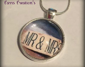 Mr. and Mrs. driftwood pendant necklace