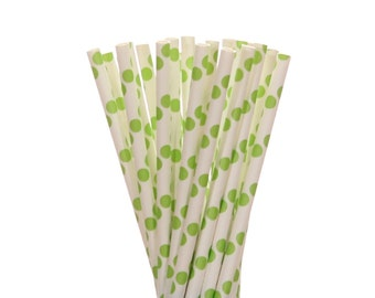 Paper Straws, Lime Green Polka Dot Paper Straws, Frog Party Paper Straws, Jungle Paper Straws, Garden Party Supplies, Ice Cream Social Decor