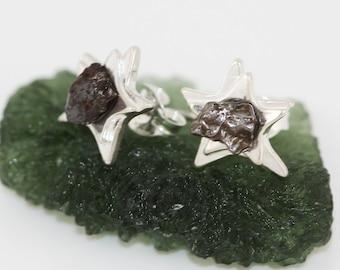 Sterling Silver Star Meteorite Space Earrings